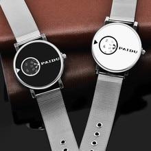 Paidu mujeres del reloj de acero llena de primeras marcas hombres atch malla de alambre placa giratoria de moda relojes de los amantes unisex de cuarzo reloj de pulsera horas
