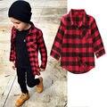 Baby Дети Мальчики Девочки Длинные Рукава Рубашки Пледы Проверяет Топы Блузка Повседневная Одежда 1-7Y