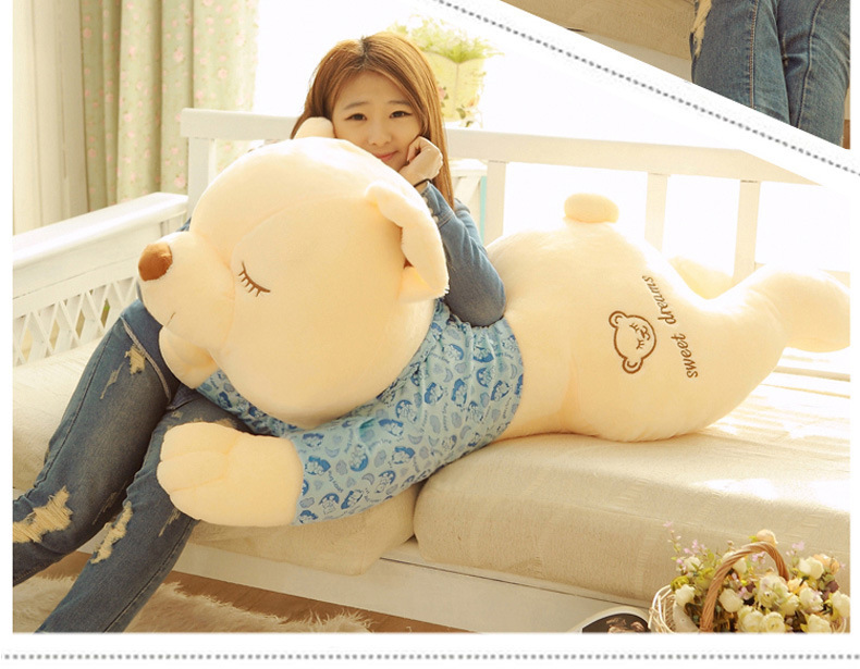 huge 130cm prone teddy bear Plush Doll soft cloth bear Toy hugging pillow, birthday Gift w0929 about 60cm creative prone cat doll plush toy soft throw pillow christmas gift x071