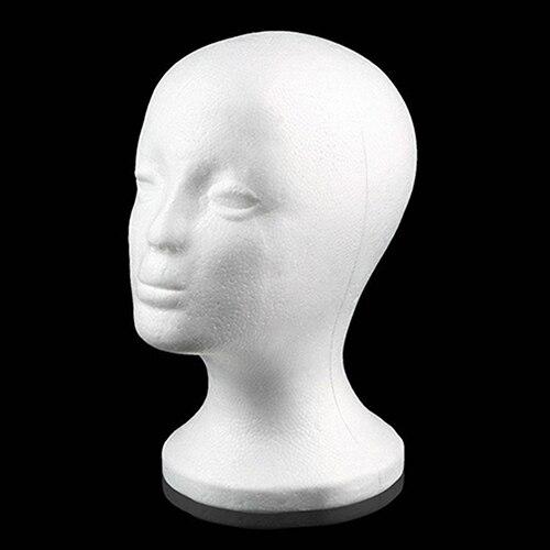 Prática Cabeça De Espuma Manequim Feminino Perucas Cap Óculos de Exibição Stand Holder Modelo Transporte da gota