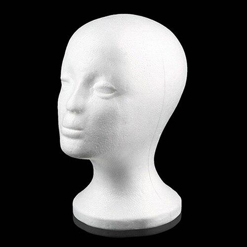 Prático espuma fêmea manequim cabeça perucas óculos boné display titular suporte modelo de transporte da gota peruca cabeça com suporte peruca titular