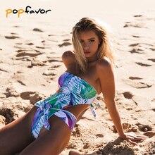 POPFAVOR One Piece Swimsuit Women Swimwear Push Up Bandage One-piece Suits Bathing Suit Brazilian Biquini