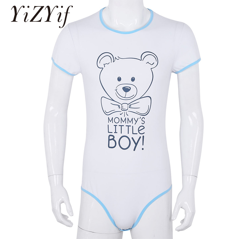 YiZYiF Mens Bodysuit Underwear Adult Baby Diaper Lover One Piece Short Sleeves Front Printed Bodysuit Romper Pajamas(China)