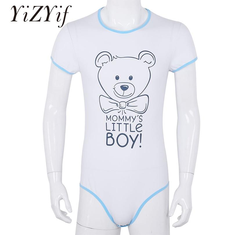 YiZYiF Mens Bodysuit Underwear Adult Baby Diaper Lover One Piece Short Sleeves Front Printed Bodysuit Romper Pajamas