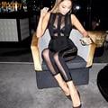 Modphy женская ночной клуб носите 2016 новый женский сексуальный сетки see through рукавов черный бинты комбинезон dropshipping HL652