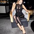 Modphy moda ladies night club wear 2016 new mulheres sexy malha ver através mangas preto bandage jumpsuit dropshipping HL652