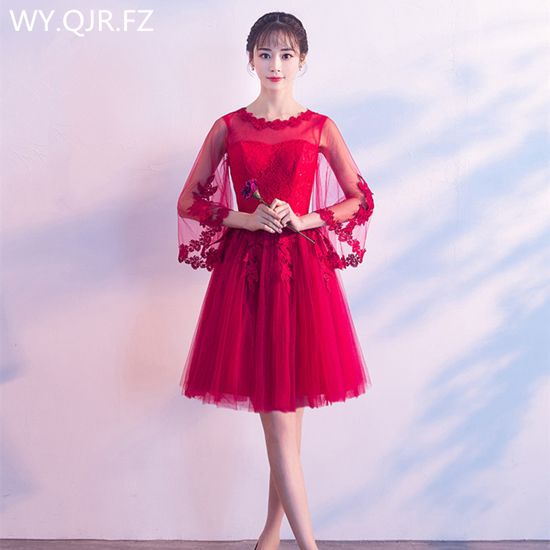 JYX72F#O-Neck Yarn Sleeve Wine red Short Lace up   Bridesmaid     Dresses   wedding party   dress   2018 prom gown Girls fashion wholesale