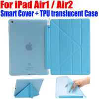 For IPad Air1 Air2 Ultrathin PU Leather Case Smart Cover TPU Translucent Back Case For Apple