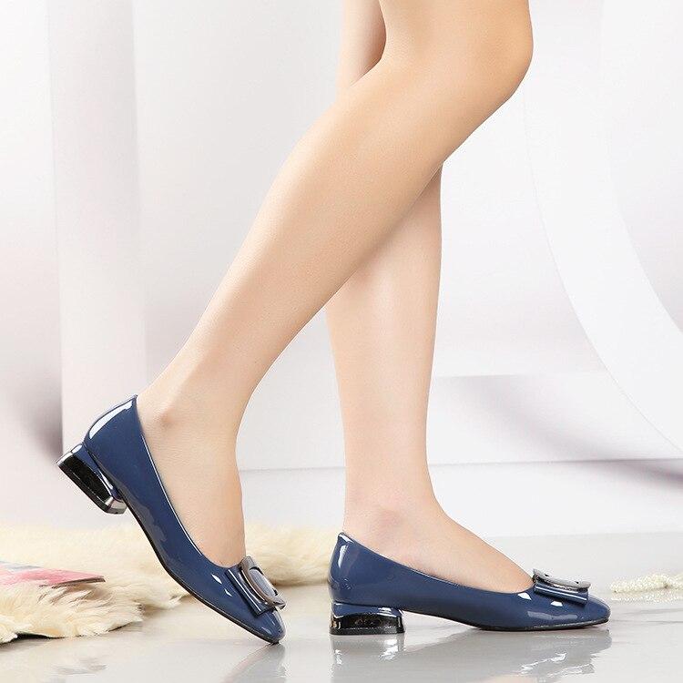 4287G couleur unie en cuir verni boucle chaussures pour femmes super fibre4287G couleur unie en cuir verni boucle chaussures pour femmes super fibre