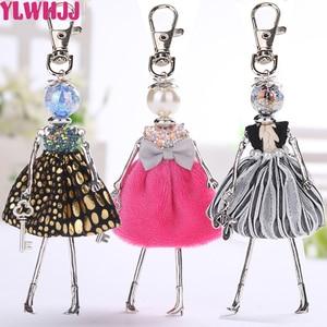 YLWHJJ brand new Doll baby cute Women keychain Car Pendant Girls Handmade Statement fashion Jewelry Bag key chains hot key ring(China)