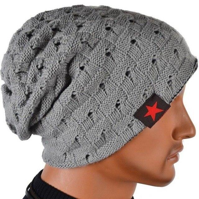 Visnxgi 2018 hombres Otoño Invierno sombrero hecho punto rayas de cinco  estrellas Cap Hollow doble desgaste 5e2575a3158