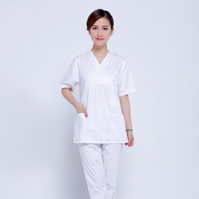 Female White Medical Scrub Sets Hospital Uniforms Doctors Scrub ...