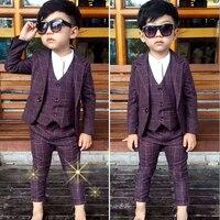 WENDYWU חדש חתונה בני בגדי ילדים ללבוש יחיד חזה חליפות בנים & טרייל מעילי אפוד משובץ + + מכנסי חליפת 3 יחידות 3sb002