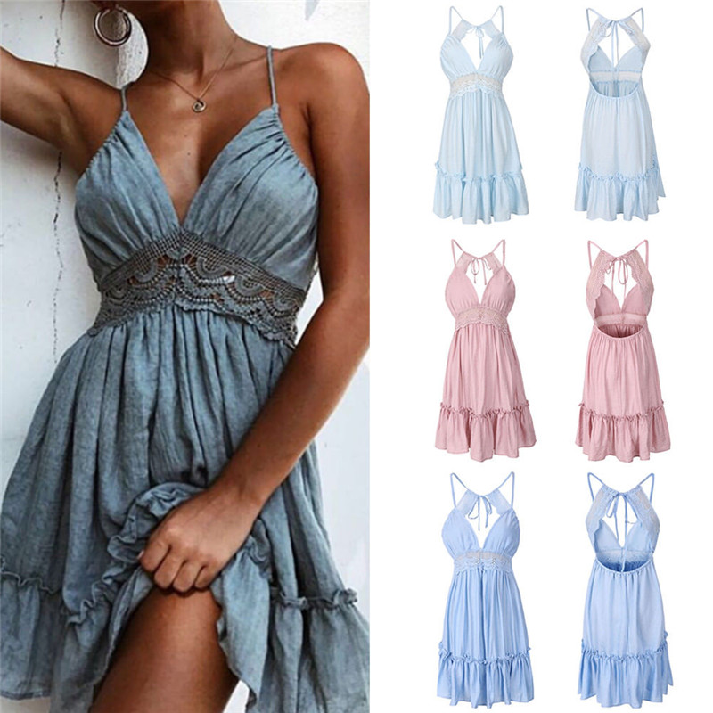 <font><b>Summer</b></font> <font><b>Women</b></font> Lace <font><b>Dress</b></font> <font><b>Sexy</b></font> Backless V-neck Beach <font><b>Dresses</b></font> <font><b>2018</b></font> Fashion <font><b>Boho</b></font> Sleeveless Spaghetti Strap Casual Mini Sundress image