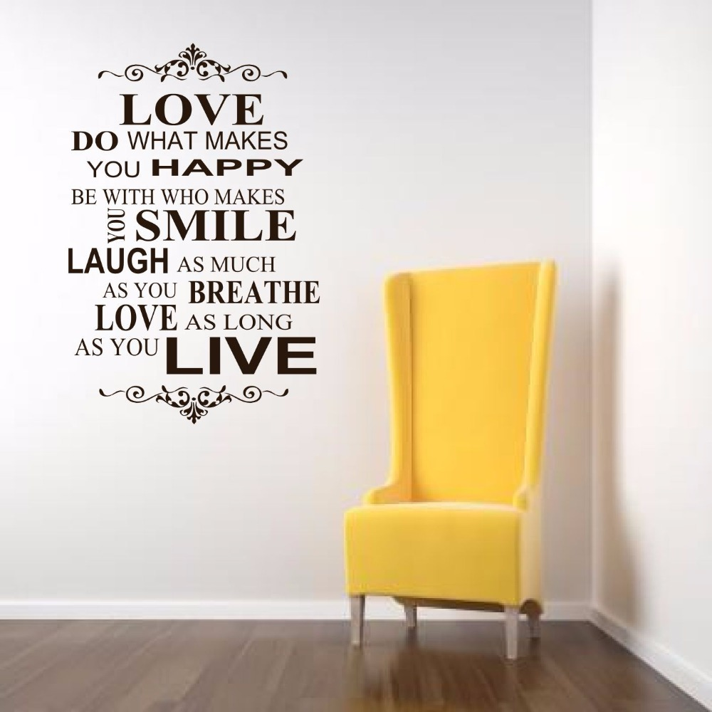 love happy smile Live Love Laugh Family Smile Happy Art Wall Quotes / Wall Stickers/ Wall Decals Decor Black and White