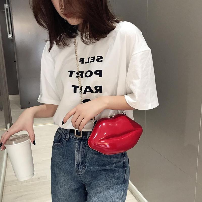 Solid Color Lips Women PVC Crossbody Handbags Chain Messenger Bags Shoulder Evening Party Clutch