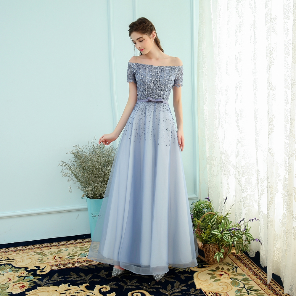 657c7aa5ad8 Clearance! SSYFashion The Banquet Elegant Grey Blue Beading Floor length  Evening Dress Size 6 Prom Party Gown Robe De Soiree-in Evening Dresses from  ...