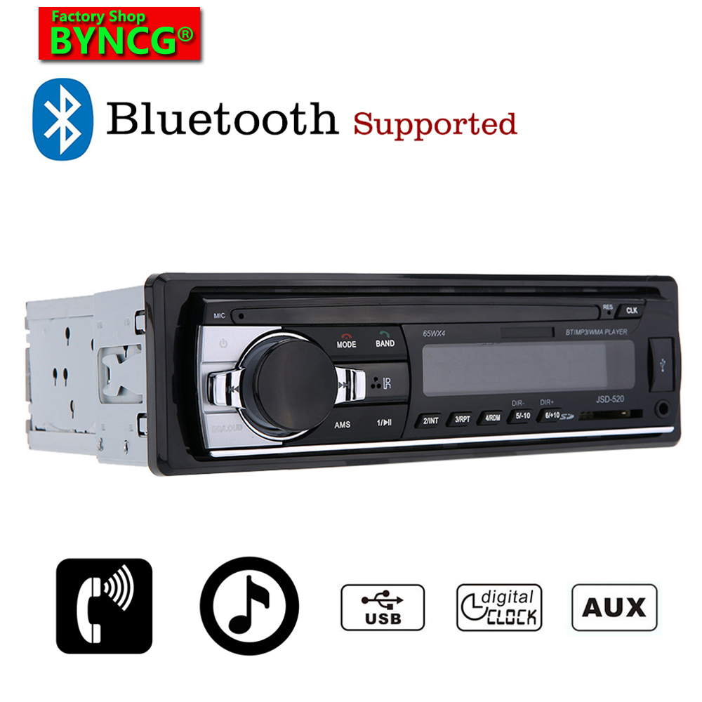 BYNCG JSD520 Auto 1 Din Radio Stereo Player Bluetooth AUX-IN Car MP3 FM USB For Iphone 12V CarAudio Auto Support Smartphone image