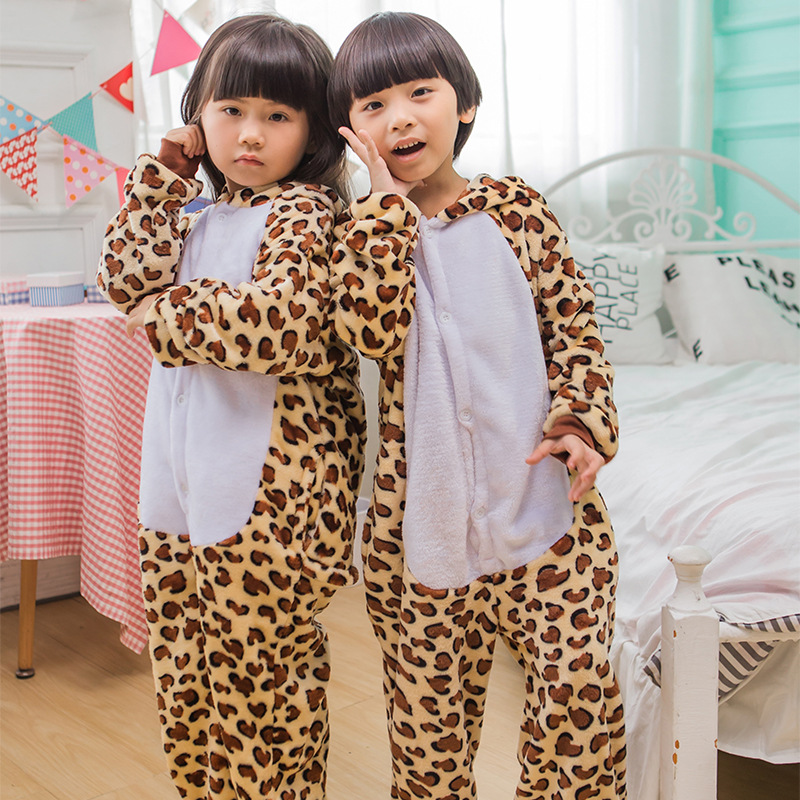 Children Leopard Small Panda Cosplay Onesie Pajamas Animal Cartoon Children Pajamas Girls Cute Soft Flannel Jumpsuit