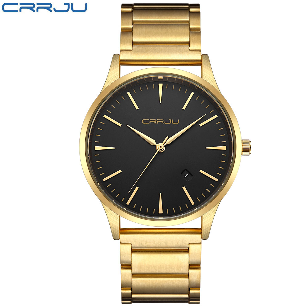 CRRJU Gold Watch Men Luxury Business Man Watch Golden Waterproof Unique Fashion Casual Quartz Male Dress Clock Gift IPG luxury men gold watch top brand antique unique style dress business man quartz watch gimto simple casual male golden clock