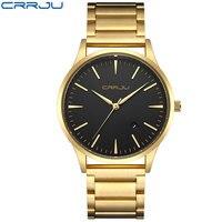 CRRJU Gold Watch Men Luxury Business Man Watch Golden Waterproof Unique Fashion Casual Quartz Male Dress