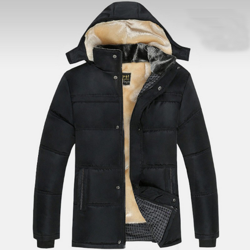 2017 Parka men fashion Large Size winter jacket men solid black thick winters jackets hooded wool liner warm Down cotton coats