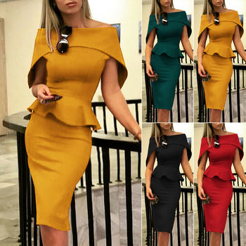 Off Shoulder Short Sleeve Bodycon Evening Party Dress  1