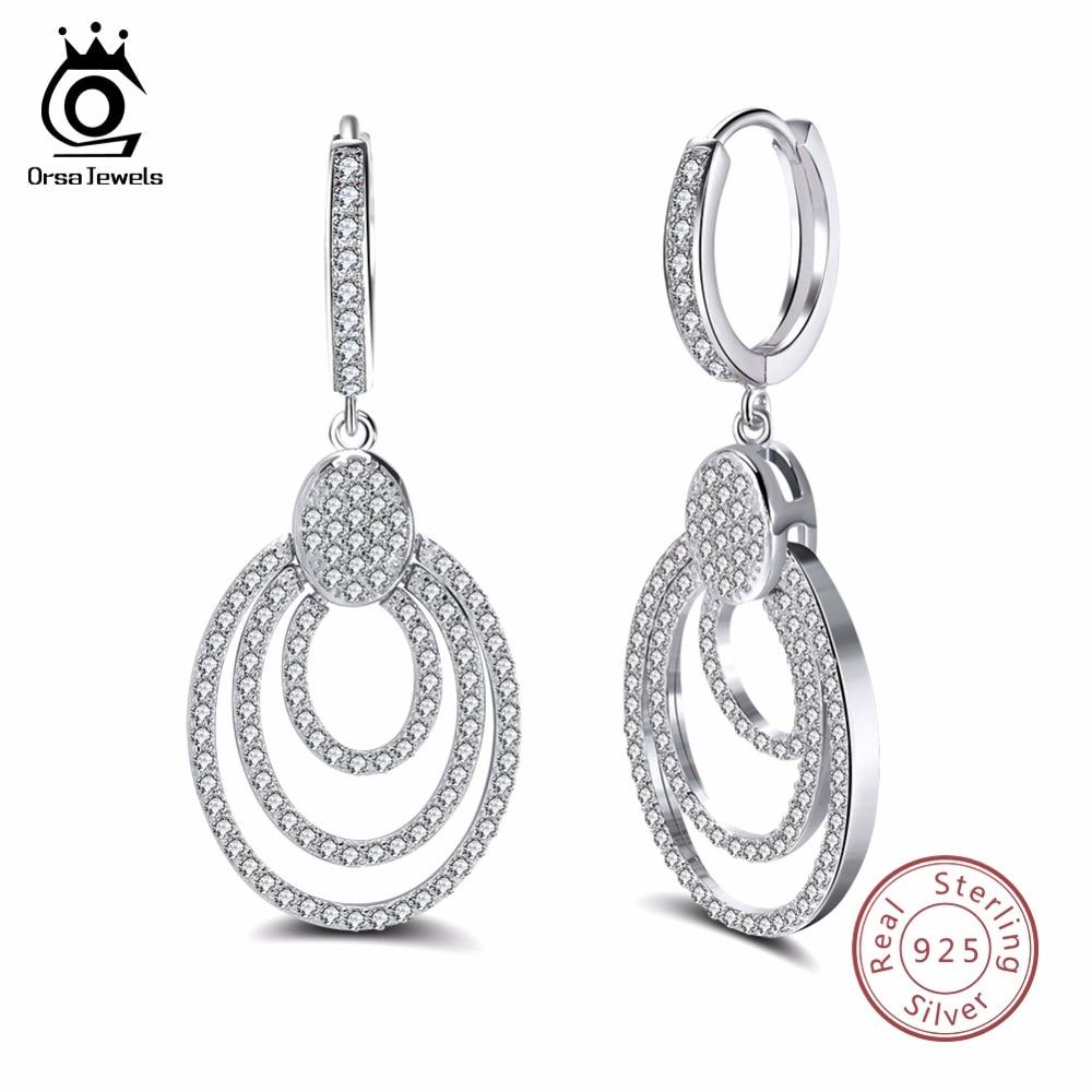 ORSA JEWELS Genuine Sterling Silver Women Dangle Earrings 925 Big Round Hollowed Statement Female Jewelry SE46 pair of statement rhinestone hollowed earrings