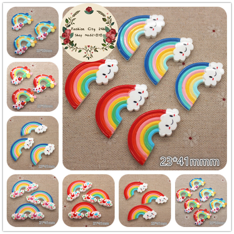 10pcs Cute Resin Rainbow Smile Cloud Flatback Cabochon DIY Hair Bow Center Decoration
