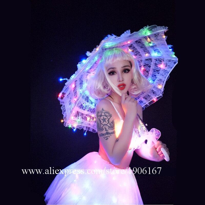 Свет вечерние танцевальные подсветкой бикини юбка бюстгальтер с подсветкой зонтик DS костюмы Бар ночной клуб события светящиеся одежды