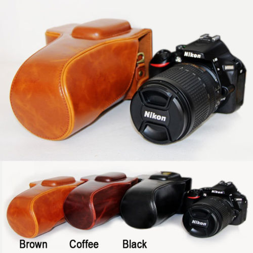 Retro Vintage Leather Camera Case Bag For Nikon D5100 D5200 D5300 PU Leather Camera Bag Coffee