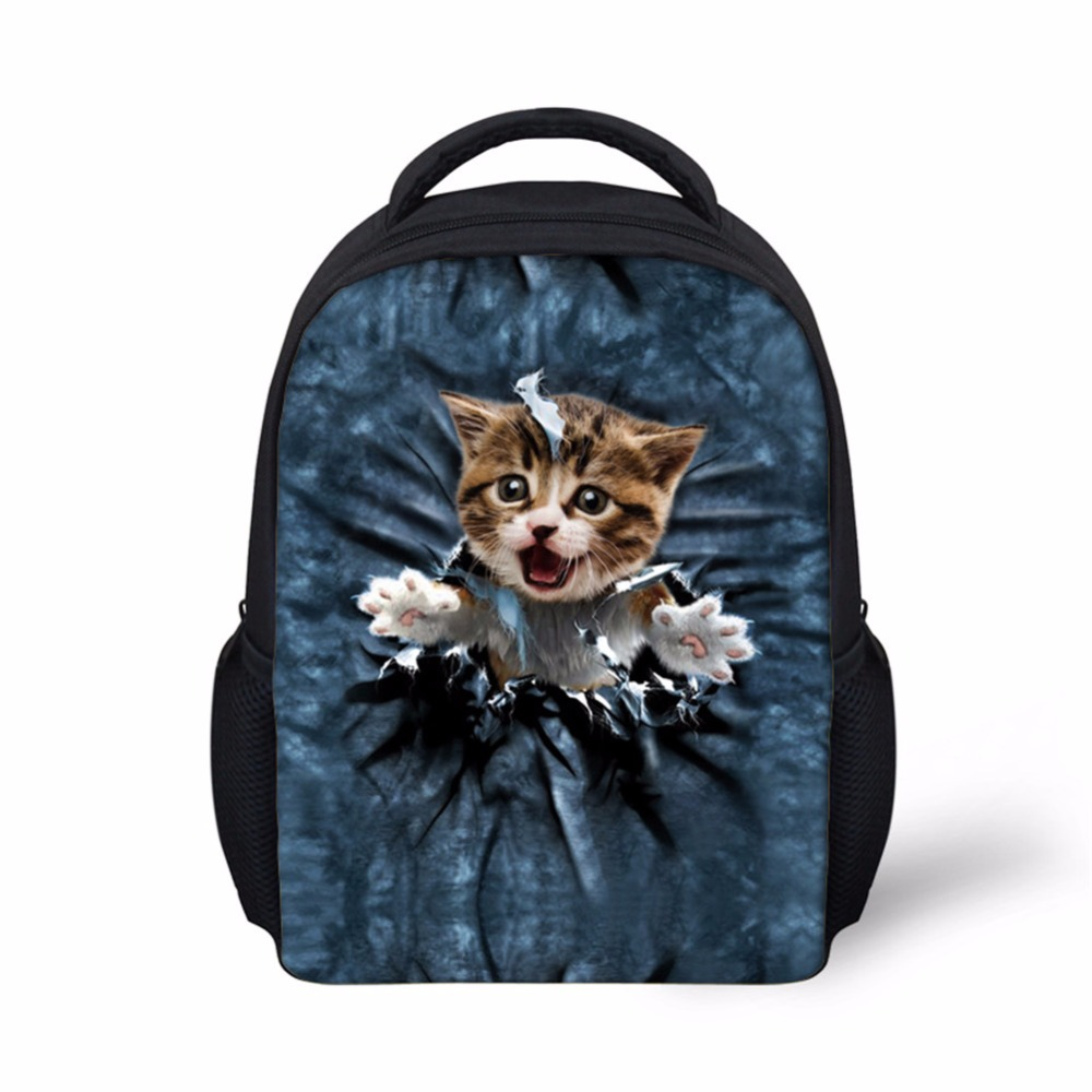 Noisydesigns Trend Childen School Bags 3D Printing Teenager Students Schoolbag blue cats 12 inch Kids book Bags Mochila Escolar