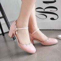 2017 New Summer Women Sandals Woman Sweet Buckle High Heels Baotou 6cm Heel Thick Heel Shoes Sexy Falbala Pumps big size 32 43