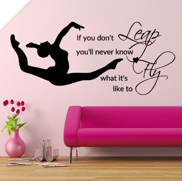 Leap Fly Girl Bedroom Decal Gymnastic Vinyl Stickers Muraux