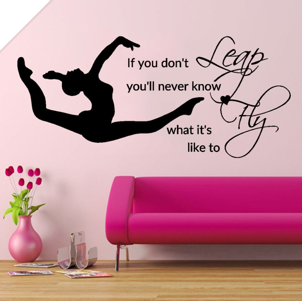 Online get cheap girl wall stencils aliexpress alibaba group leap fly girl bedroom decal gymnastic vinyl stickers muraux bedding decor quotes sports art stencils for walls diy syy034 amipublicfo Image collections