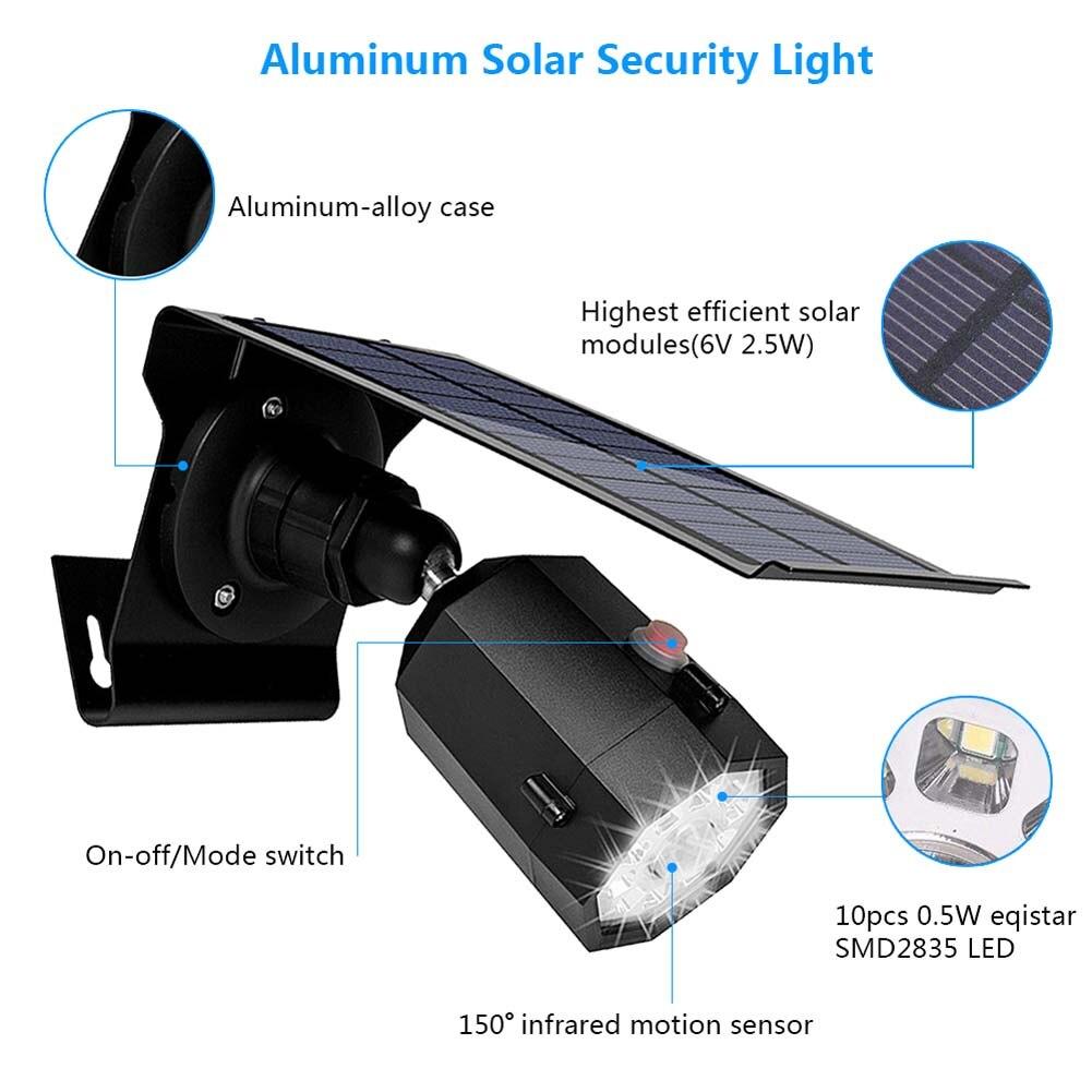 Solar Motion Sensor Lights 5W Wireless LED Flood Security Light 3 Modes 360 Degree 10 LED MJJ88Solar Motion Sensor Lights 5W Wireless LED Flood Security Light 3 Modes 360 Degree 10 LED MJJ88
