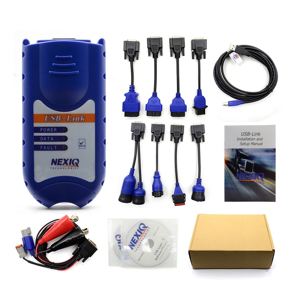 NEXIQ USB Link 125032 with Software 4CD+9 Cables Nexiq 125032 USB Link Truck Scanner by DHL Shipping