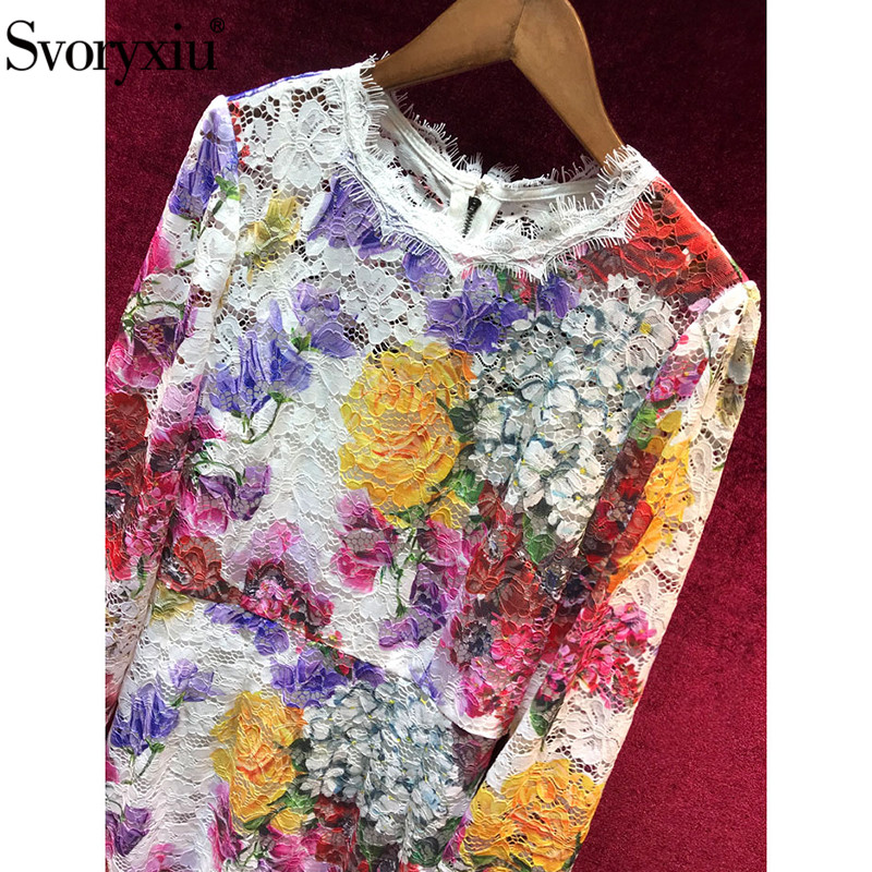 Svoryxiu ฤดูใบไม้ร่วงฤดูหนาวรันเวย์หรูหราชุดสตรี Elegant หญิงยาวแขน Vintage Rose ที่มีสีสันลูกไม้ชุด-ใน ชุดเดรส จาก เสื้อผ้าสตรี บน   3