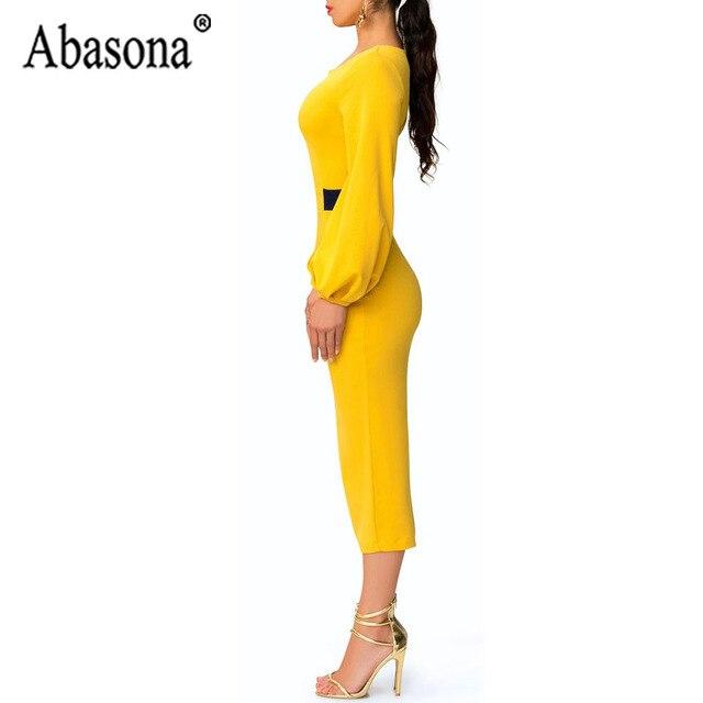 Abasona Yellow Pencil Dress Women O Neck Long Sleeve Split Woman Slim Midi Dress Ladies Fashion Patchwork Elegant Party Dresses 2