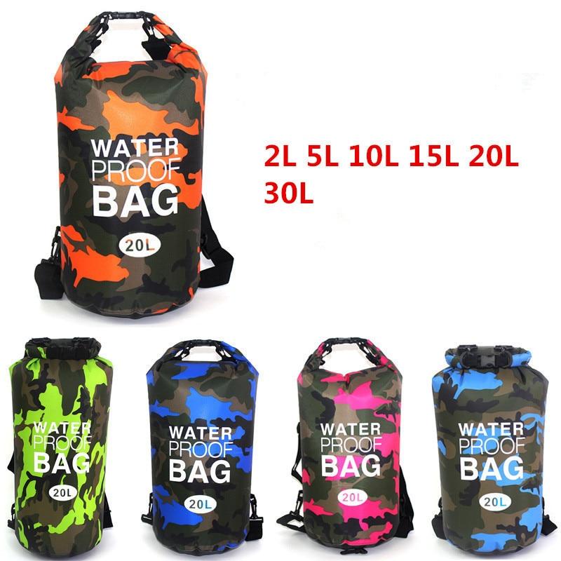 2L/5L/10L/15L/20L/30L Outdoor Waterproof Bag Dry Bag Travelling Backpack Trekking Bag For Drifting Rafting Kayaking Snorkeling