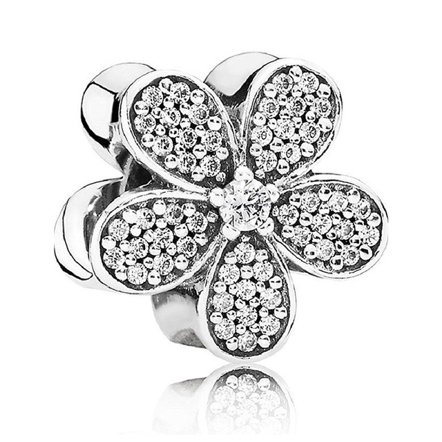 Authentic 925 Sterling Silver DIY Jewelry Sparkling Daisy Flower Charms fit Pandora Bracelet Bangle Clear CZ