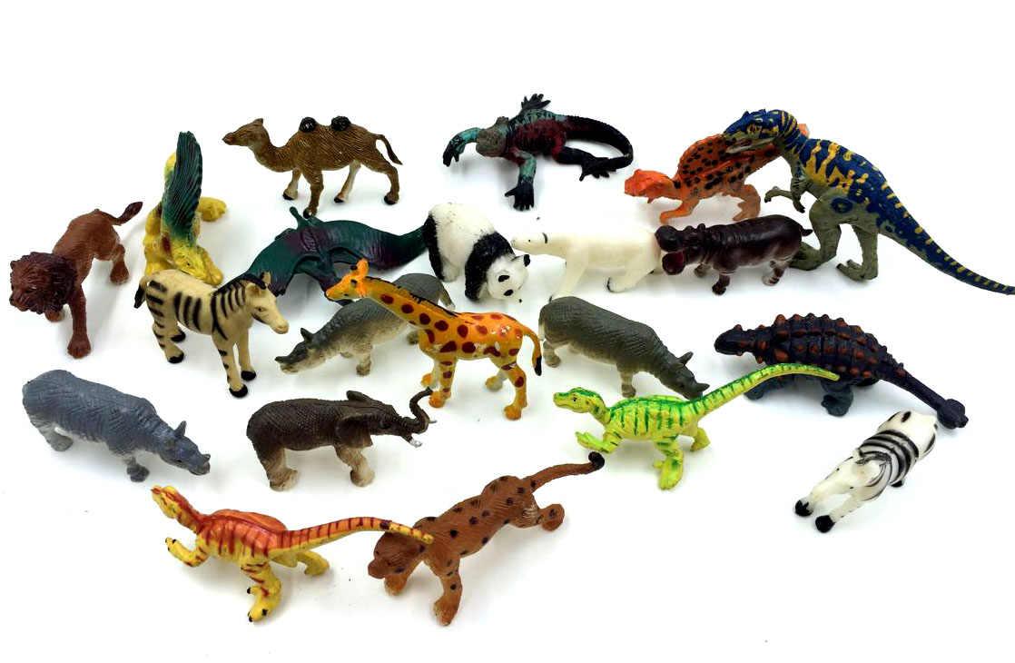 10 pçs/lote aleatória enviar originais de alta qualidade animal da floresta dinasour/Panda figura de ação conjunto melhores brinquedos dos miúdos