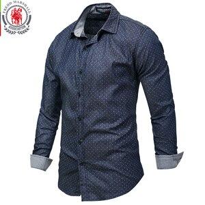 Image 3 - Fredd מרשל 2019 גברים מנוקדת ג ינס חולצה ארוך שרוול 100% כותנה באיכות גבוהה מזדמן חולצה זכר חברתי שמלת חולצות 3XL 120