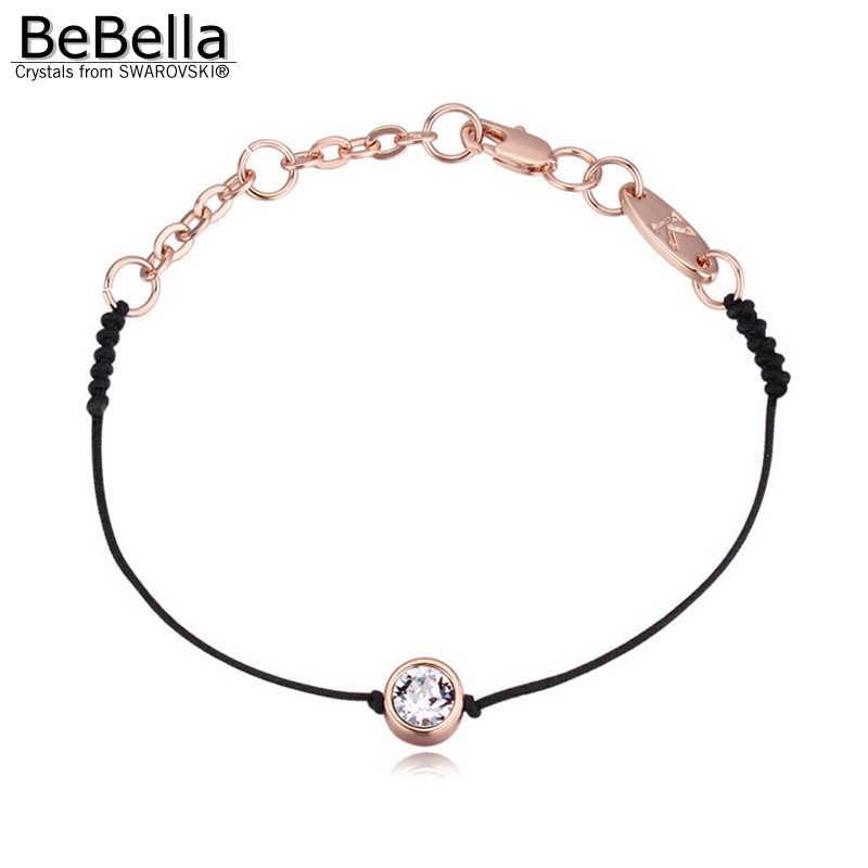 BeBella тонкий черный шнур веревка линейный браслет с кристаллами из Swarovski золотой цвет цепи женские свадебные украшения