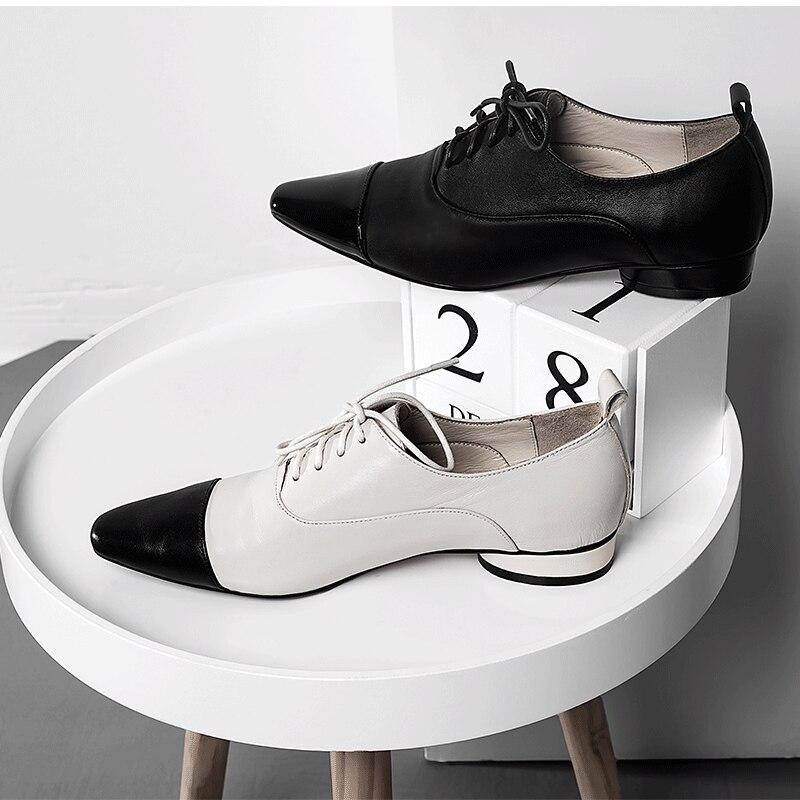 XIUNINGYAN mujeres pisos de cuero genuino Oxford zapatos mujer pisos Brogues Vintage hecho a mano cordones mocasines zapatos casuales para mujer-in Zapatos planos de mujer from zapatos    3