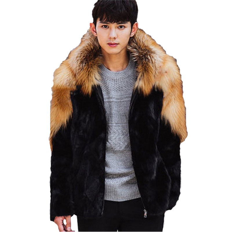 2018Mens High-Imitation Fur Coat Mens Fox Fur Mink Fur One-piece Jacket Winter Mane Hood ...
