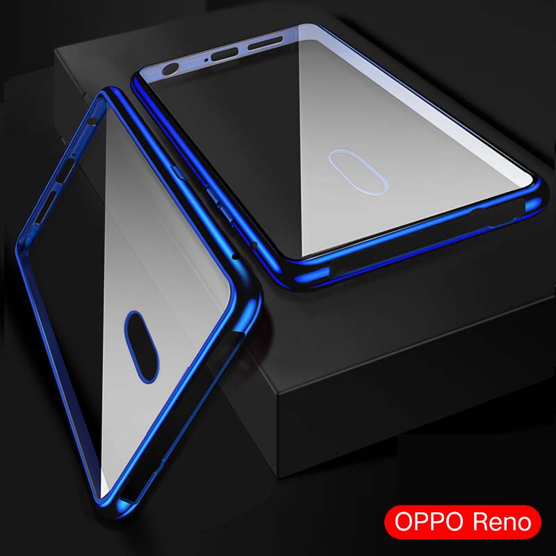 Leuk 360 Front + Back Dubbelzijdig Body Luxe Voor Oppo Reno Case Metalen Frame Shockproof Voor Achter Glas Magnetische Cover Case Ks0158