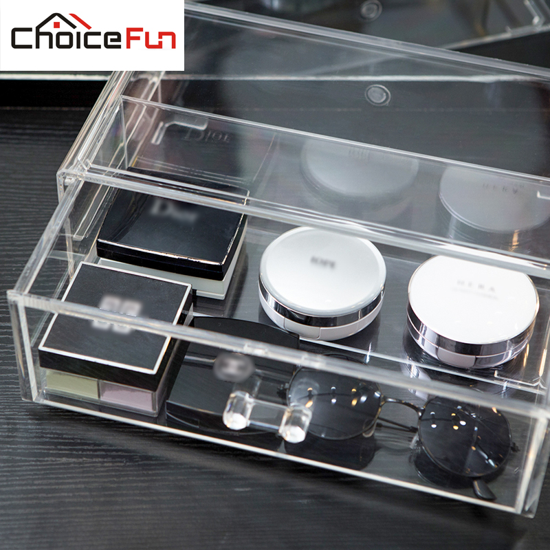 CHOICE FUN DIY 1 Layer Transparent Plastic Desktop Storage Box