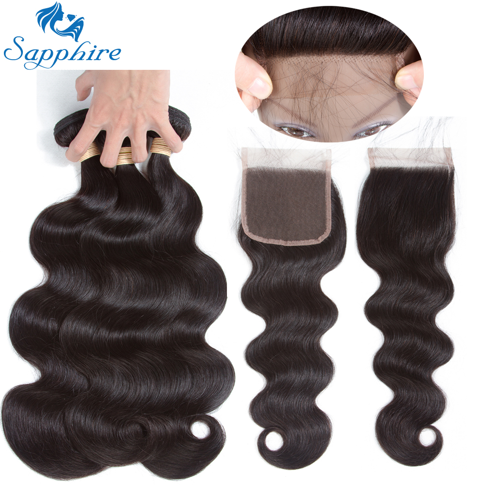 Sapphire Body Wave Human Hair Bundles With Closure Natural Color Hair Salon Brazilian Ha ...