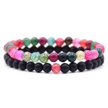 лучшая цена New Trendy Couple Bracelet 2 Piece Sets Charm Stone Beads Men Bracelets For Women Natural Stone Beaded Bracelet Fashion Jewelry